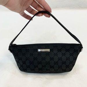 Gucci Gg Boat Pochette Black Canvas Shoulder Bag